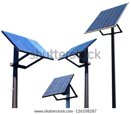 Environment solar panel poles - stock photo