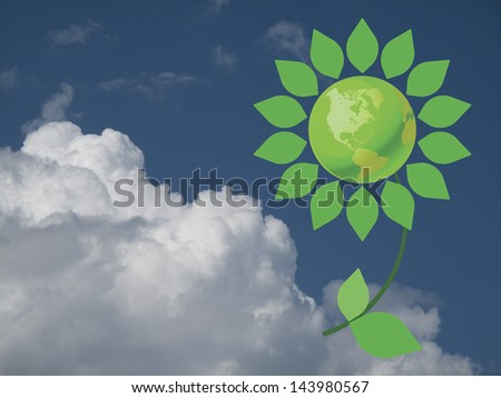 Environmental climate change flower with green earth against a cloudy blue sky - stock photo