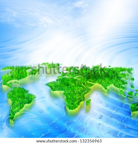 Environmental Concept. Globe and a green tree in the hands against the backdrop of a ripple - stock photo