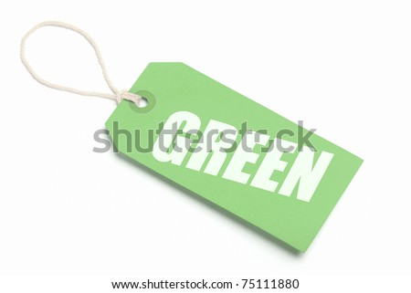 Environmental concept tag, green cardboard with string loop. Isolated on white. - stock photo