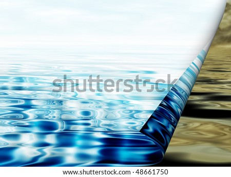 Environmental concept, water protection, clean and polluted water - stock photo