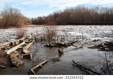 environmental disaster in the spring - stock photo