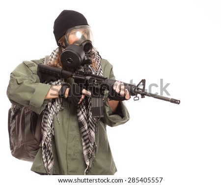 Environmental disaster. Post apocalyptic female survivor with gas mask, rifle and go bag on white background with copy space. - stock photo