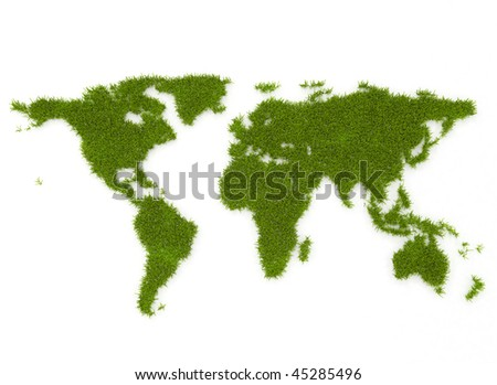 Environmental grass world map - stock photo