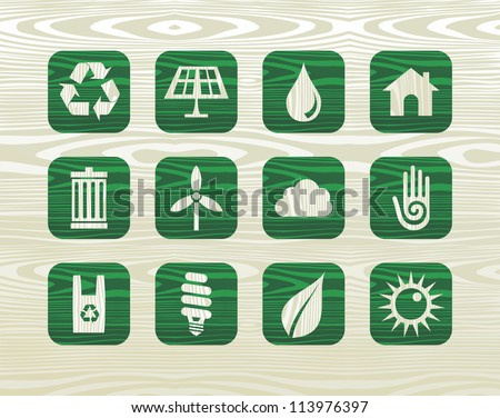 Environmental green icons set in organic wood graphics background. - stock photo