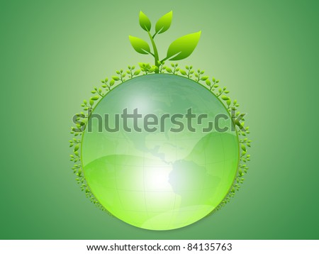 Environmental green  world  with trees, Isolated on green background - stock photo