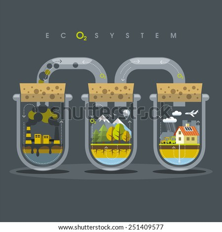 Environmental illustration delicate balance and depending on the nature of human - stock photo