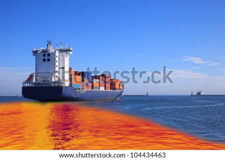 Environmental pollution caused by oil spill from the ship. - stock photo