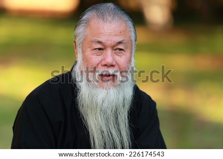 Environmental portrait of a senior man with long beard - stock photo