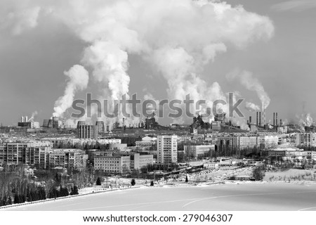 Environmental problem of environmental pollution and air in large cities - stock photo