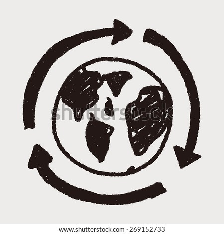 Environmental protection concept; Doing recycle to protect our environment; recycled garbage; doodle - stock photo