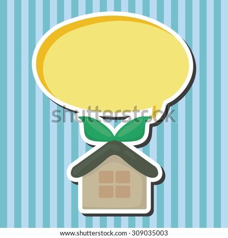 Environmental protection concept ; greenhouses; gr, cartoon speech icon - stock photo