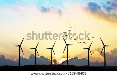 eolic energy - stock photo