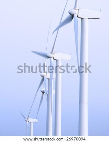 eolic generators in a wind farm - stock photo