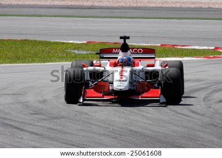 epang, MALAYSIA - 21 November: Team Monaco in action at the World A1 GP championship races held in Malaysia. 21 November 2008 in Sepang International Circuit Malaysia. - stock photo