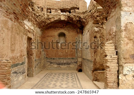 Ephesus Terrace Houses , TURKEY - JUNE 11, 2014 - Excavations by archaeologists have revealed painted Roman frescoes on the walls and mosaics of private homes on the terraces above Ephesus, Turkey - stock photo