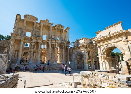EPHESUS, TURKEY - APRIL 13 : Ruins of the library of Celsus in Ephesus on April 13, 2015. Ephesus contains the ancient largest collection of Roman ruins in the eastern Mediterranean. - stock photo