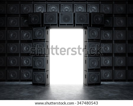 Epic portal of guitar amps - stock photo