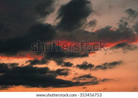 epic sunset sky summer background - stock photo