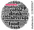 Epresso info-text graphics and arrangement concept on white background (word cloud) - stock photo