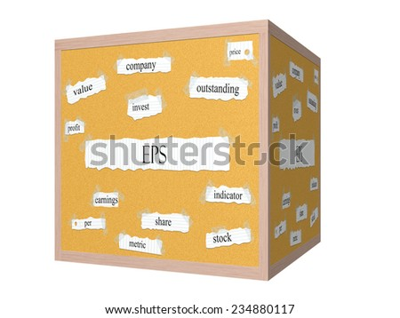 EPS 3D Corkboard Word Concept with great terms such as earnings, per, share, stock and more. - stock photo