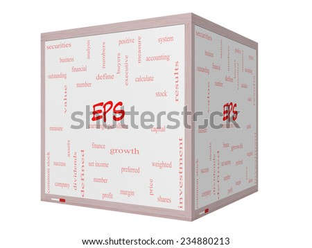 EPS Word Cloud Concept on a 3D cube Whiteboard with great terms such as earnings, per, share, stock and more. - stock photo