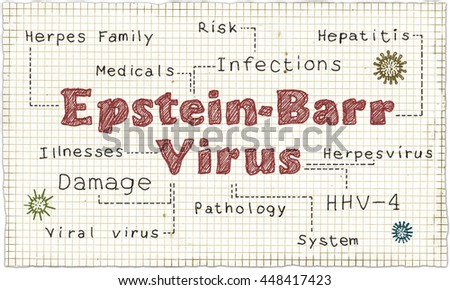 Epstein-Barr Virus illustrated on Old Paper - stock photo