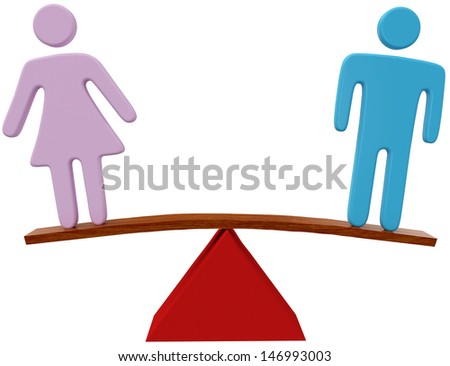 Equal man and woman sex equality gender balance - stock photo