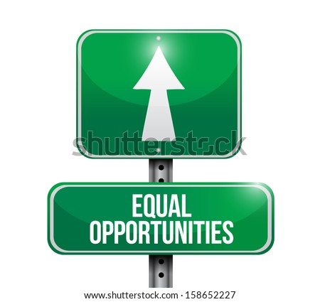 equal opportunities road sign illustrations design over a white background - stock photo