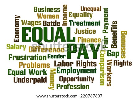 Equal Pay Word Cloud on White Background - stock photo