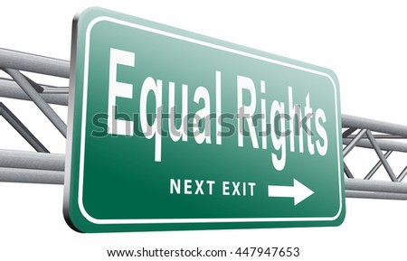 Equal rights no discrimination and same opportunities for all women man disabled black and white solidarity, 3D illustration isolated on white.  - stock photo