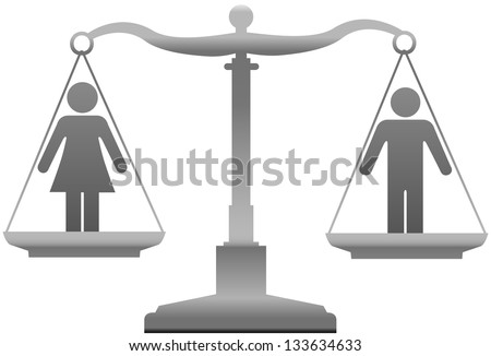Equality scales weigh gender justice issues - stock photo