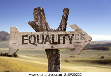 Equality wooden sign with a desert background - stock photo
