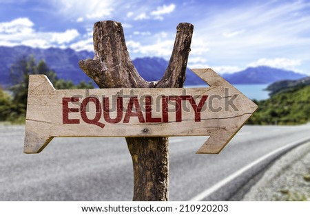 Equality wooden sign with a street on background - stock photo