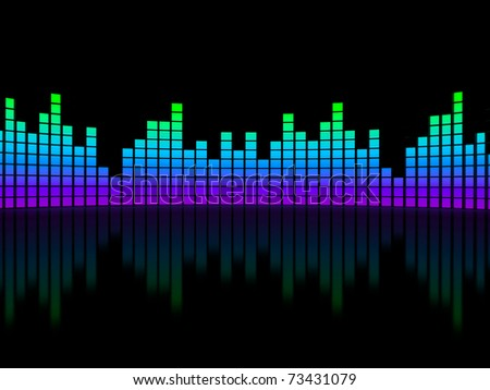 Equalizer over black background. computer generated image - stock photo