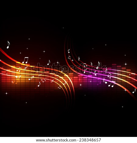 equalizer with music notes background for active dance events - stock photo