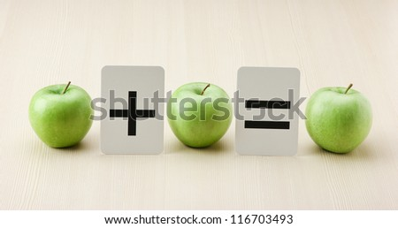 equation error, School card and apple with math problems - stock photo
