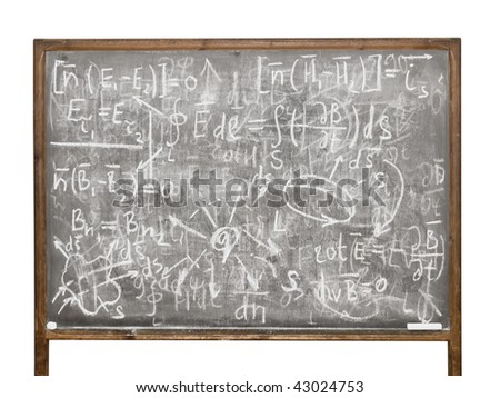 Equations on the old style blackboard isolated on white background - stock photo