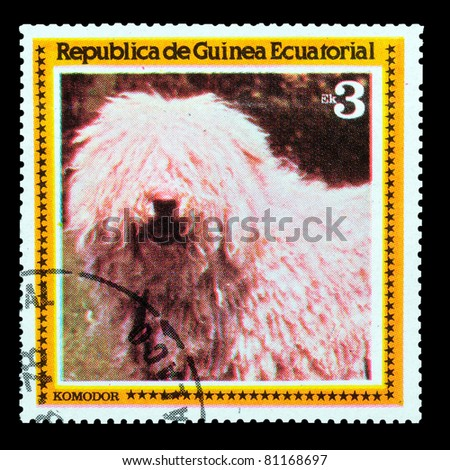 EQUATORIAL GUINEA - CIRCA 1978: A stamp printed by EQUATORIAL GUINEA shows a dog Komodor, circa 1978 - stock photo