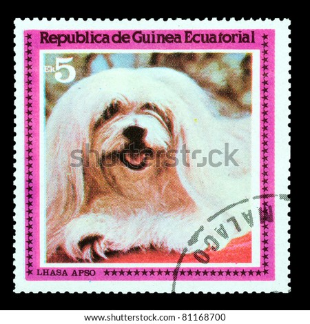EQUATORIAL GUINEA - CIRCA 1978: A stamp printed by EQUATORIAL GUINEA shows a dog Lhasa Apso, circa 1978 - stock photo