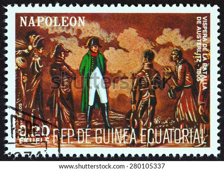 """EQUATORIAL GUINEA - CIRCA 1977: A stamp printed in Equatorial Guinea from the """"Napoleon """" issue shows eve of the Battle of Austerlitz, 1805, circa 1977. - stock photo"""