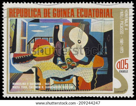 EQUATORIAL GUINEA - CIRCA 1975: A stamp printed in Equatorial Guinea, shows abstract painting by Pablo Picassos, circa 1975 - stock photo