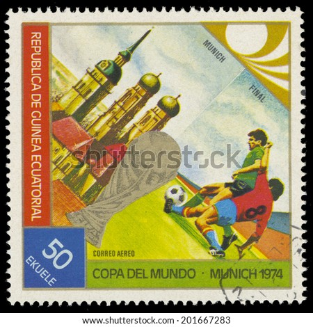 EQUATORIAL GUINEA - CIRCA 1974: A stamp printed in Equatorial Guinea, shows soccer player, 1974 Munich, Germany World Cup, circa 1974 - stock photo
