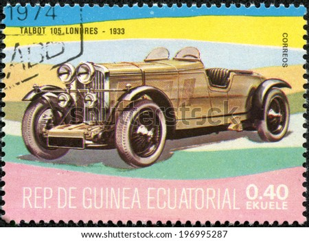 EQUATORIAL GUINEA - CIRCA 1974: A stamp printed in Guinea dedicated to vintage cars, shows Talbot 105 London, 1933, circa 1974 - stock photo