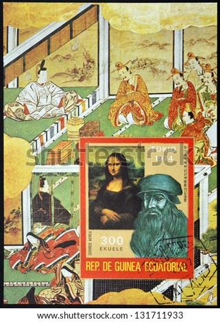 EQUATORIAL GUINEA - CIRCA 1974: A stamp printed in Guinea shows Bust of Leonardo da Vinci and the Mona Lisa, circa 1974 - stock photo