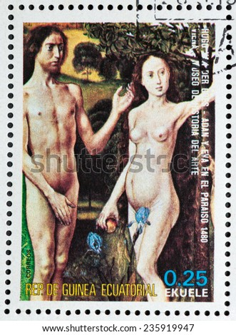 """EQUATORIAL GUINEA - CIRCA 1974: A stamp printed in the Equatorial Guinea, shows a painted picture of Hugo van der Goes """"Fall of man"""", circa 1974 - stock photo"""