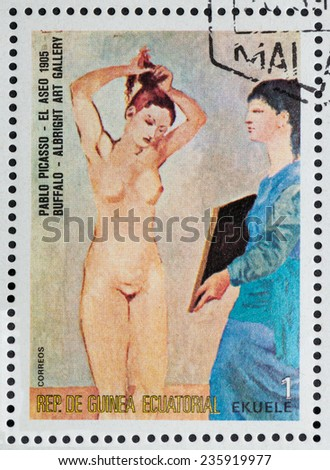 "EQUATORIAL GUINEA - CIRCA 1974: A stamp printed in the Equatorial Guinea, shows a painted picture of Pablo Picasso ""Toilet"", circa 1974 - stock photo"