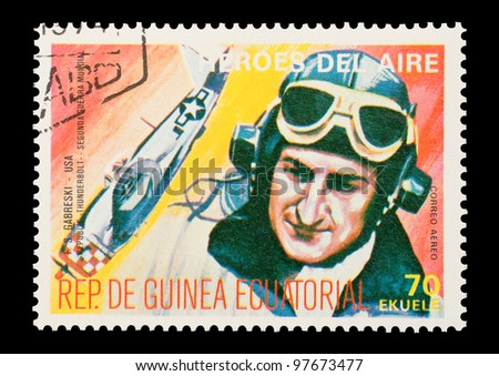 EQUATORIAL GUINEA - CIRCA 1974: Mail stamp printed in Equatorial Guinea featuring vintage WW2 military fighter ace Gabby Gabreski, circa 1974 - stock photo
