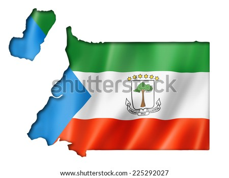Equatorial Guinea flag map, three dimensional render, isolated on white - stock photo
