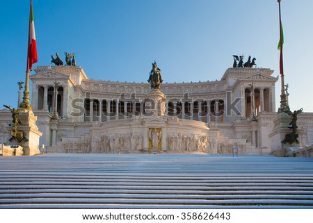 Equestrian monument to Victor Emmanuel II and Vittoriano in Rome, Italy - stock photo